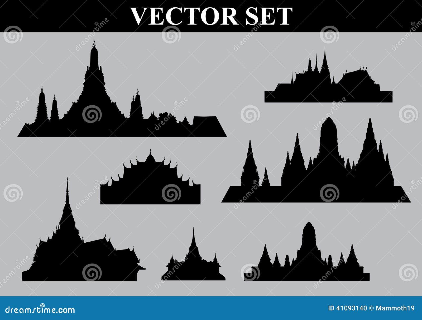 Thailändsk mapp för tempeluppsättningvektor