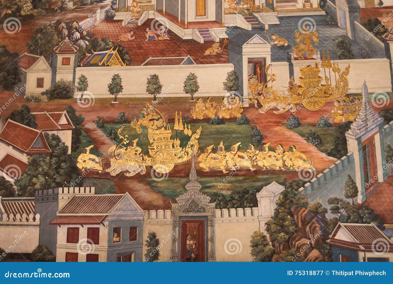 Thailändska vägg- målningar på väggen, Wat Phra Kaew på Juli 16, 2016