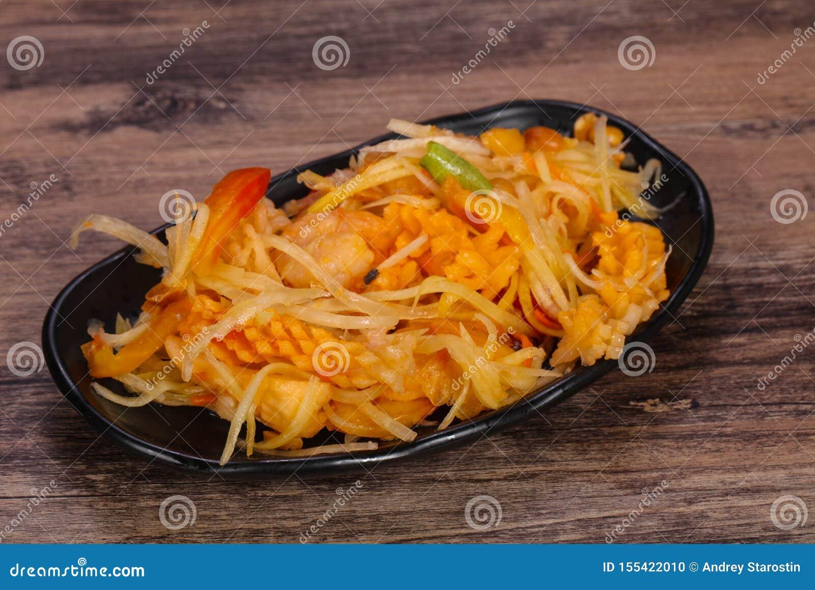 Thail?ndsk sallad med papayaen och r?kan