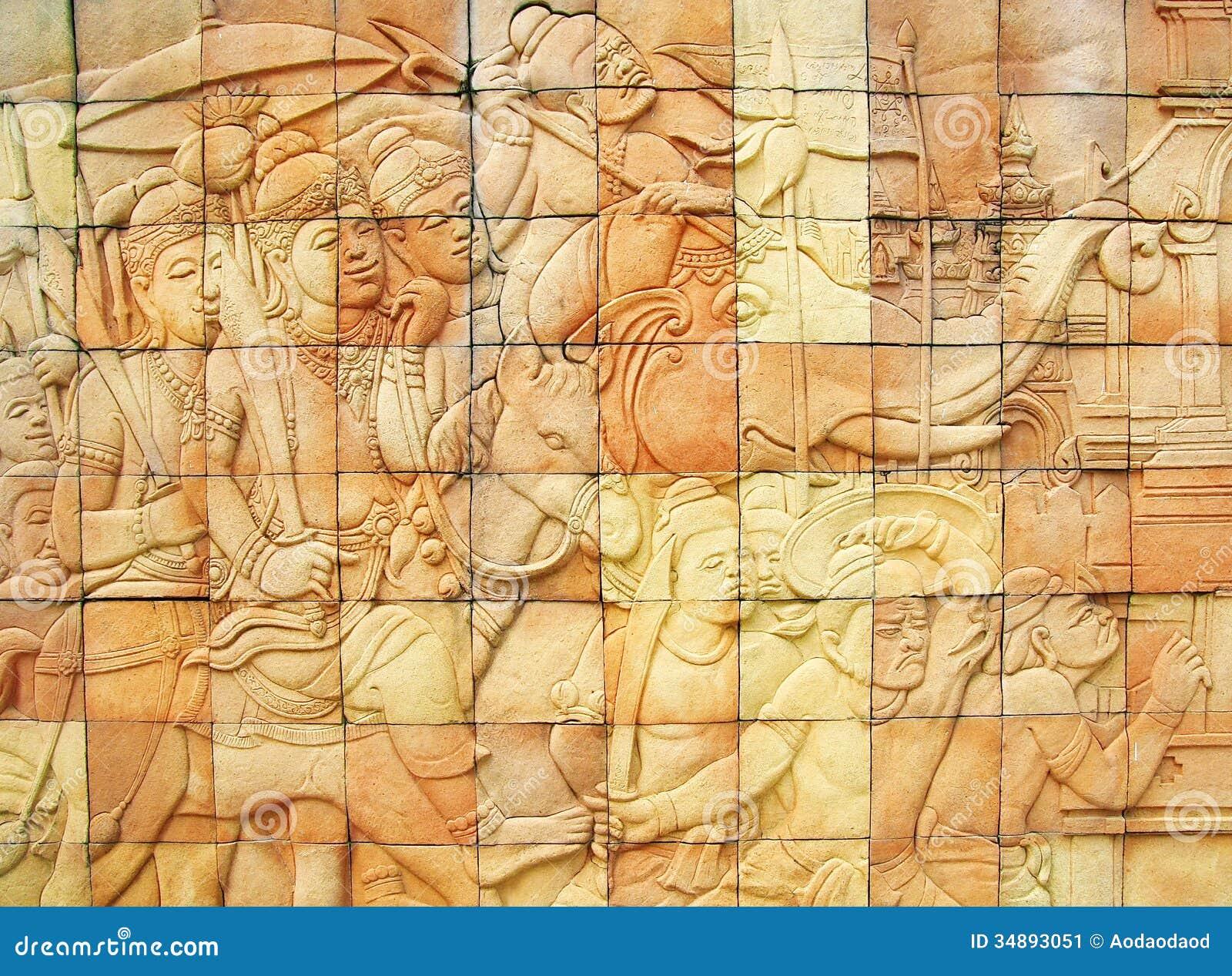 Stone Wall Art thailand art stone wall stock photography - image: 34893042