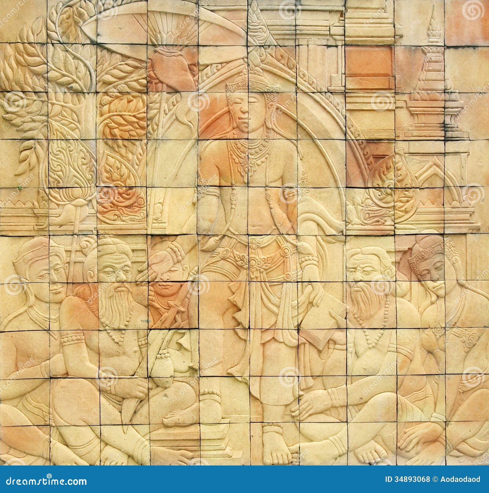 Stone Wall Art thailand art stone wall stock image - image: 34893051
