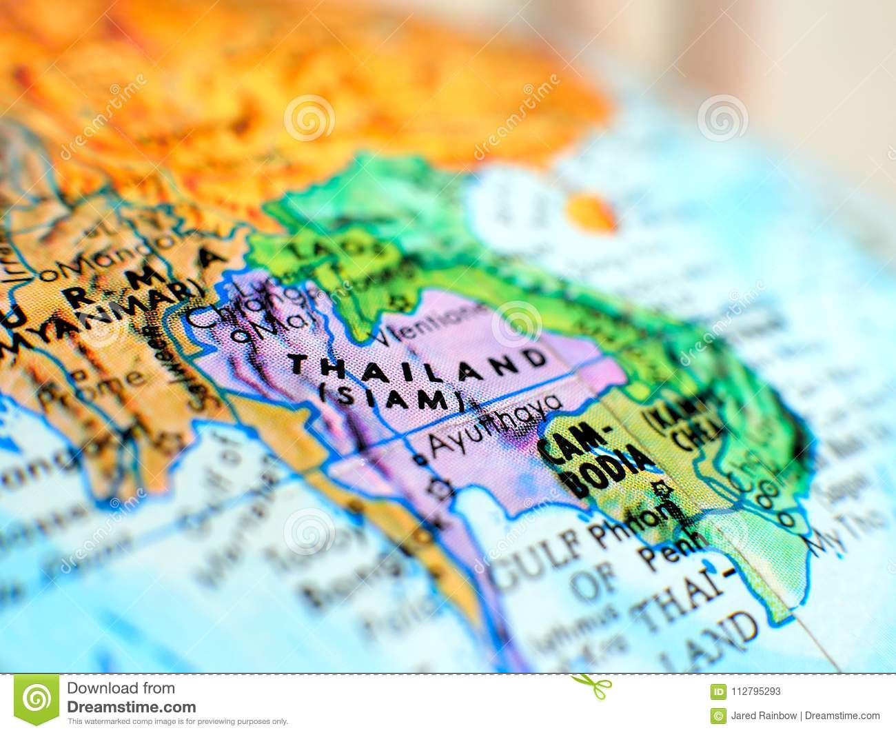 Thailand Asia focus macro shot on globe map for travel blogs, social media, website banners and backgrounds.