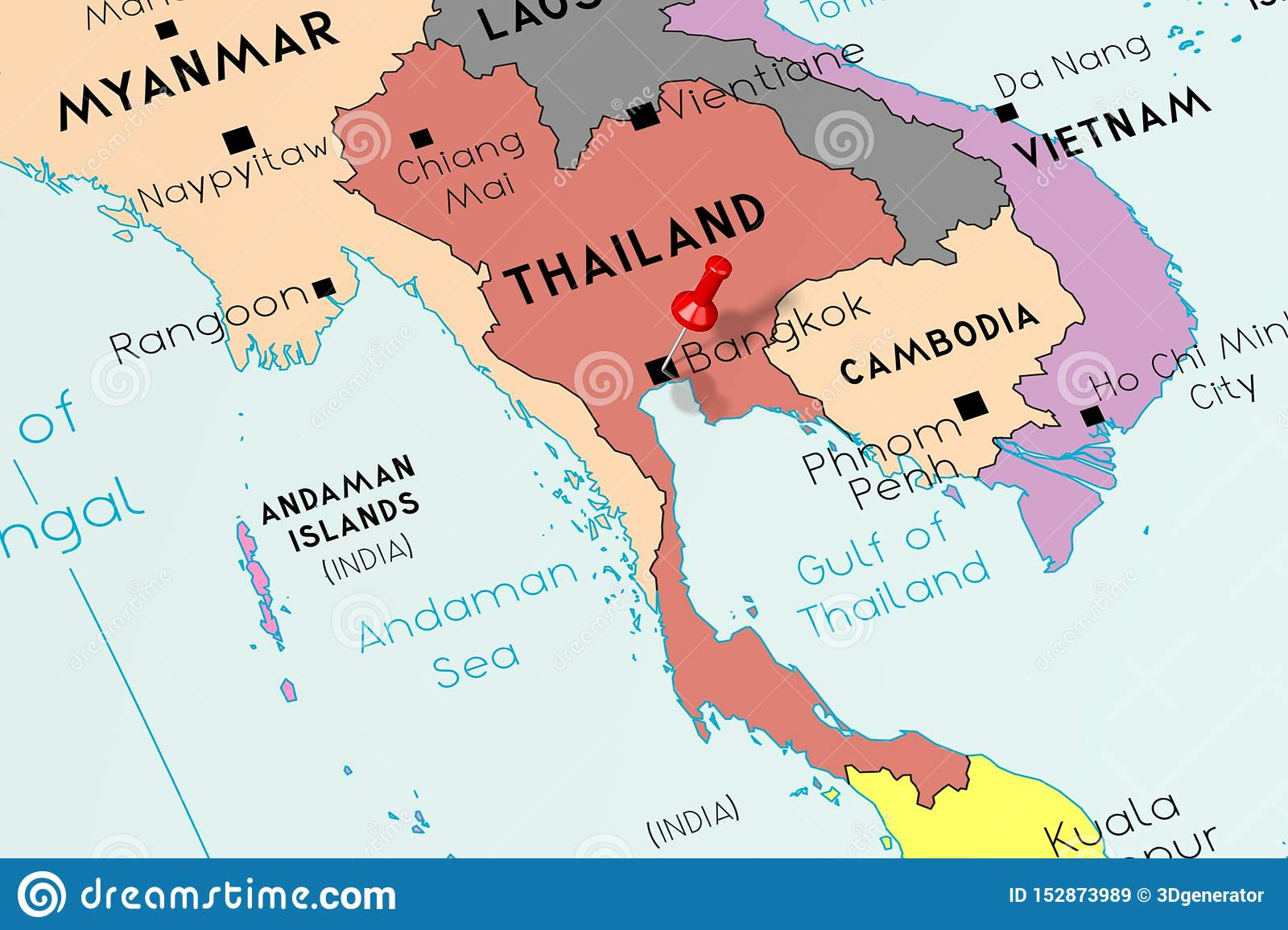 Thailand, Bangkok - Capital City, Pinned On Political Map ...