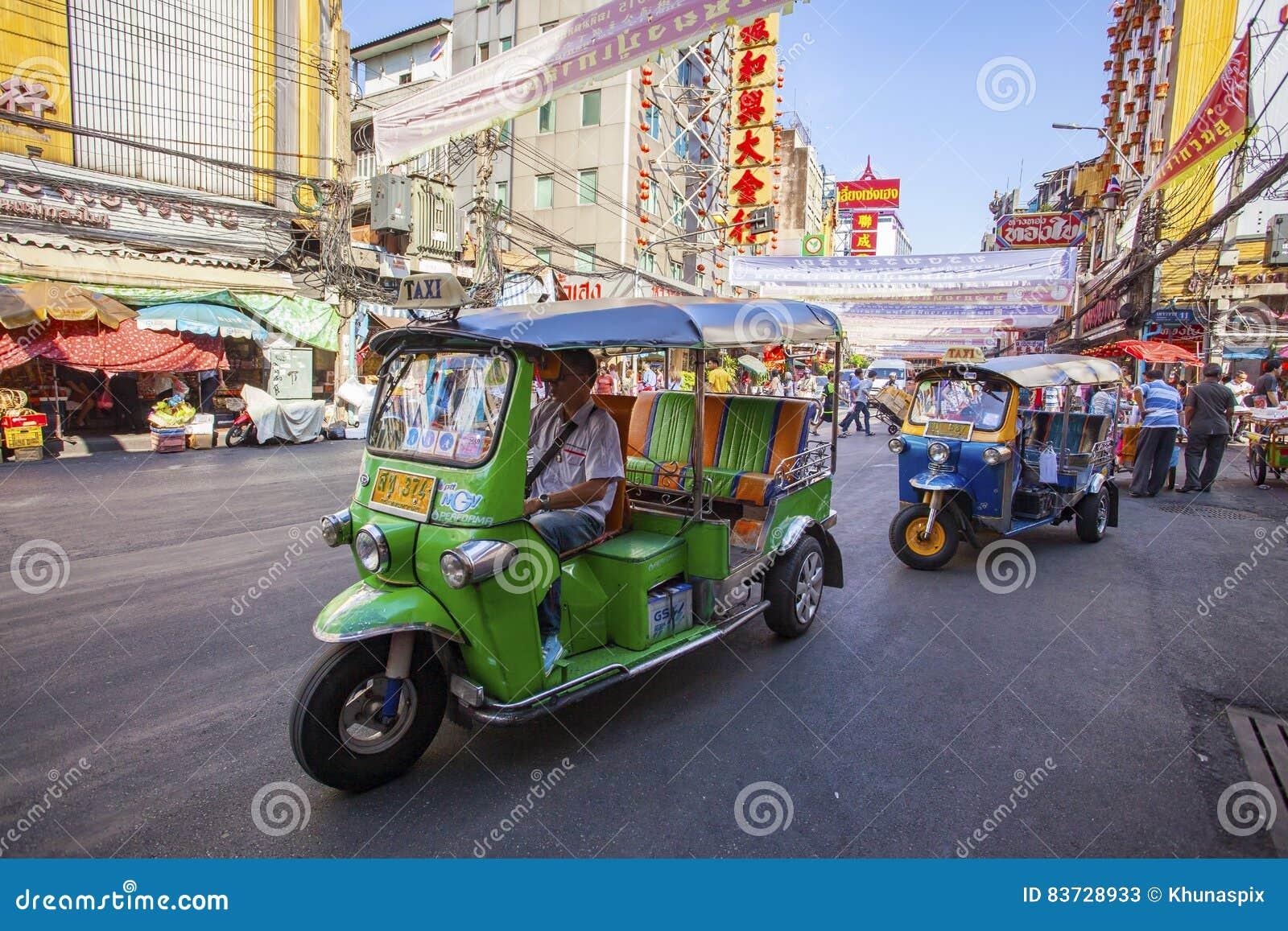 THAILAND BANGKOK - FEB 24 : TukTuk car on traffic in Yaowarat