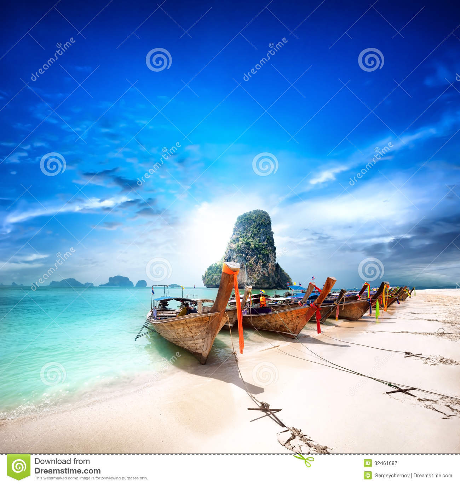 Thailand beach on tropical island. Beautiful travel background