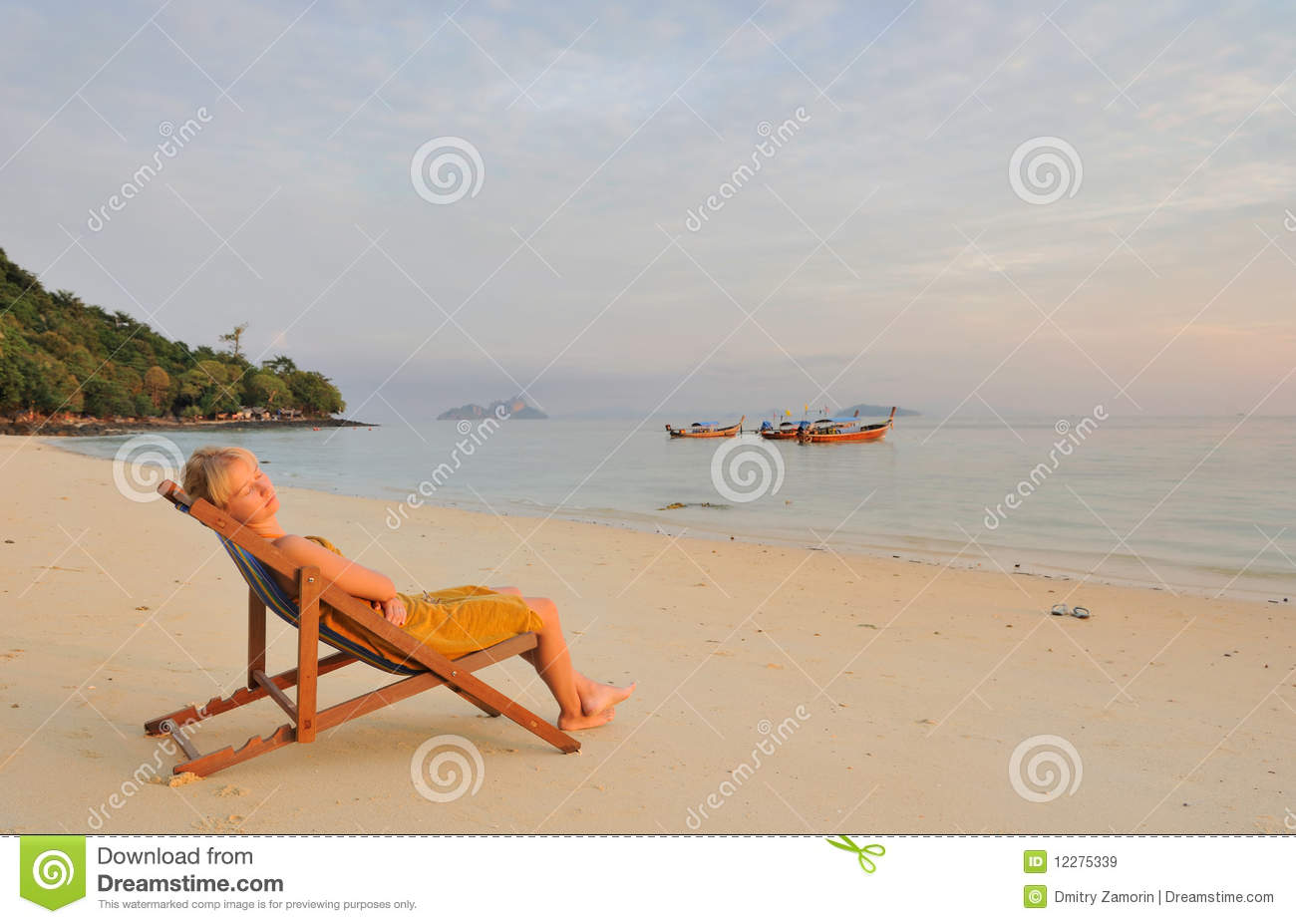Thailand Beautiful Girl Relaxing On Deserted Beach Stock
