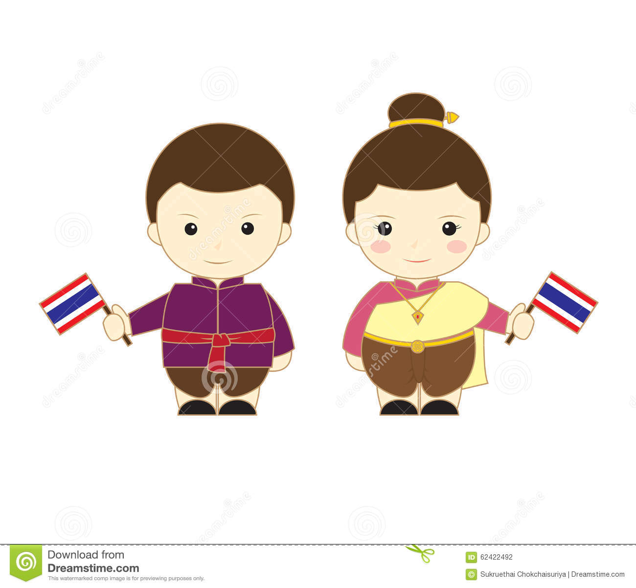 Thailand Cartoon Kids Stock Illustration - Image: 62422492