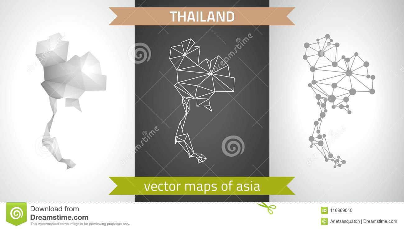 Thailand Collection Of Vector Design Modern Maps, Gray And Black And ...