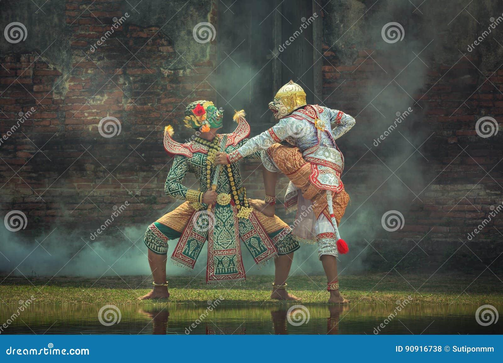 Thailand för kultur för konst för Kumbhakarna maskeringsRamayana berättelse dans in