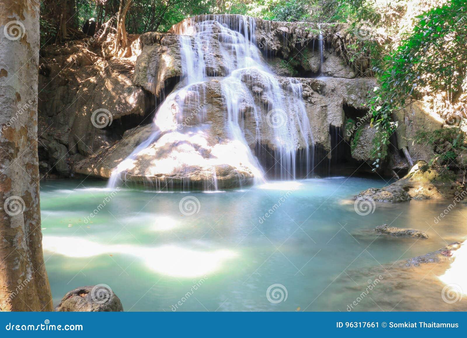 Thailand för mae för huaikaminkanchanaburi vattenfall