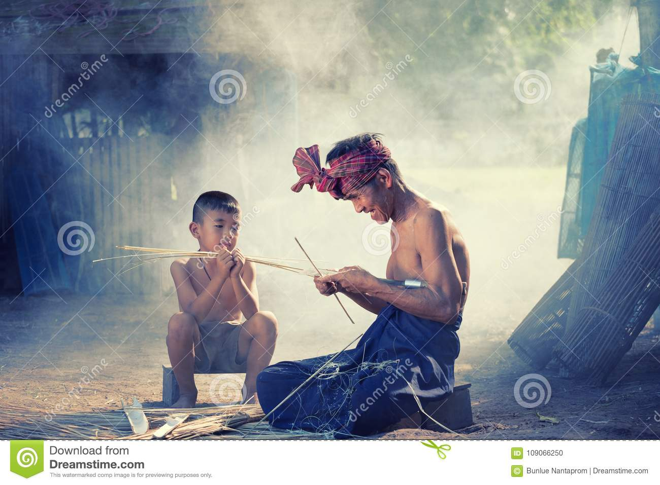 Thailand Father and son are working hand made Basket bamboo or f