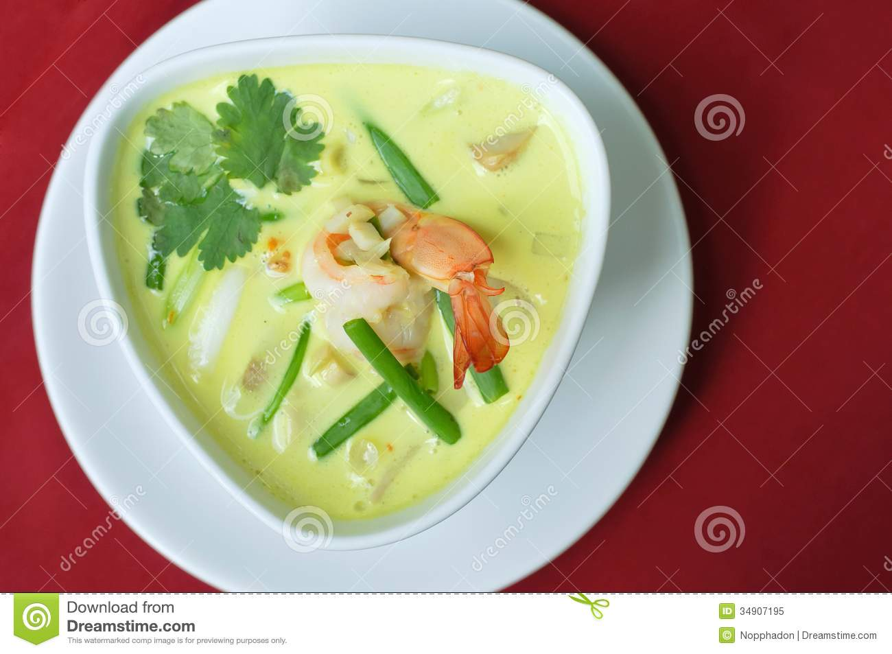 Thailand food green curry shrimp royalty free stock photo for Cuisine on the green