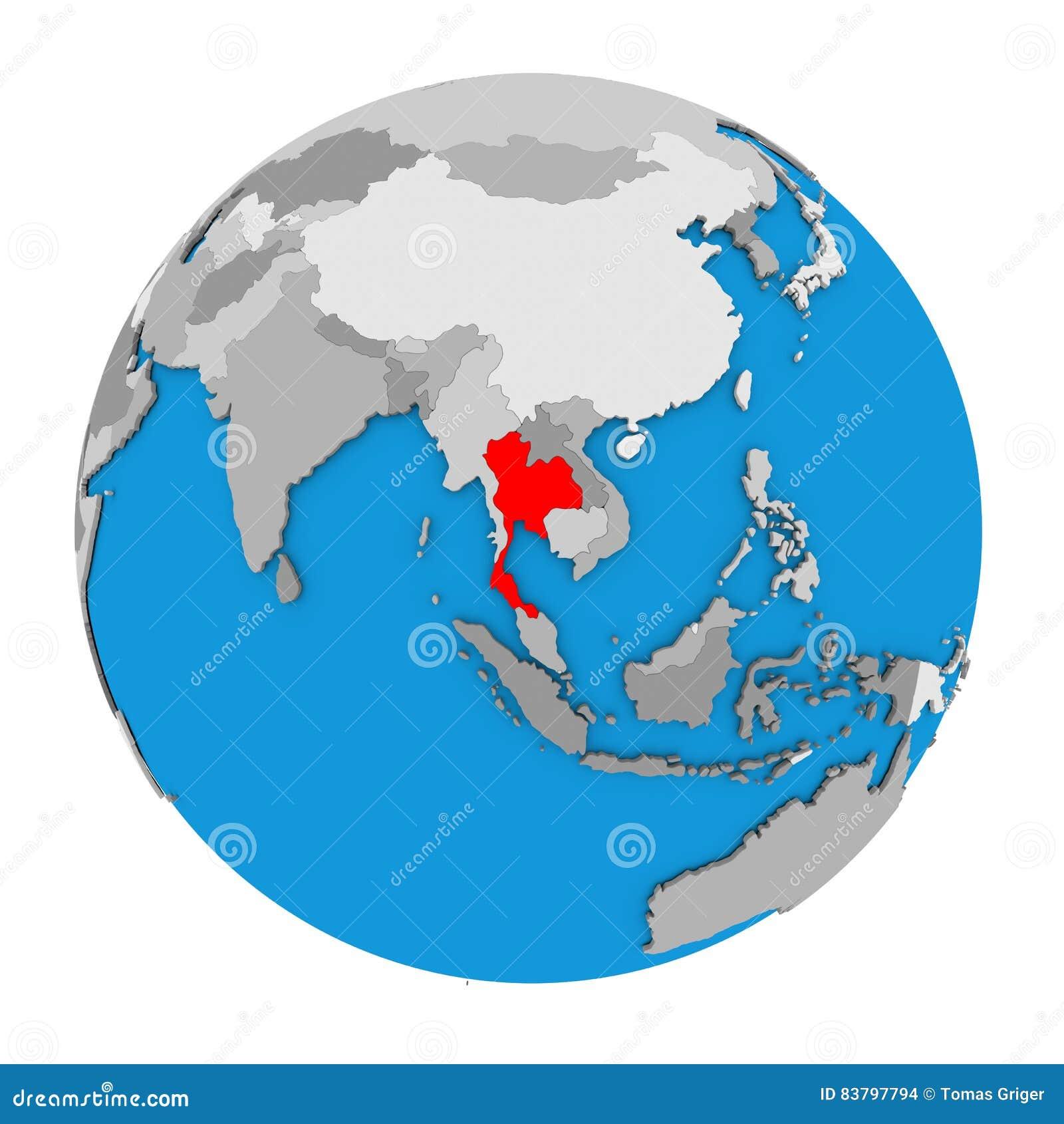 Thailand on globe stock illustration. Illustration of region - 83797794