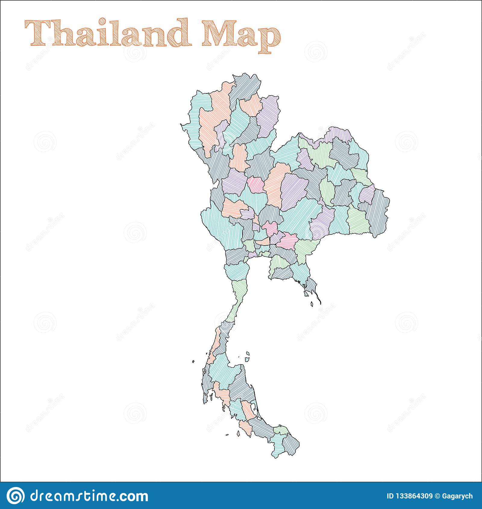 Thailand hand-drawn map. stock vector. Illustration of chart ...