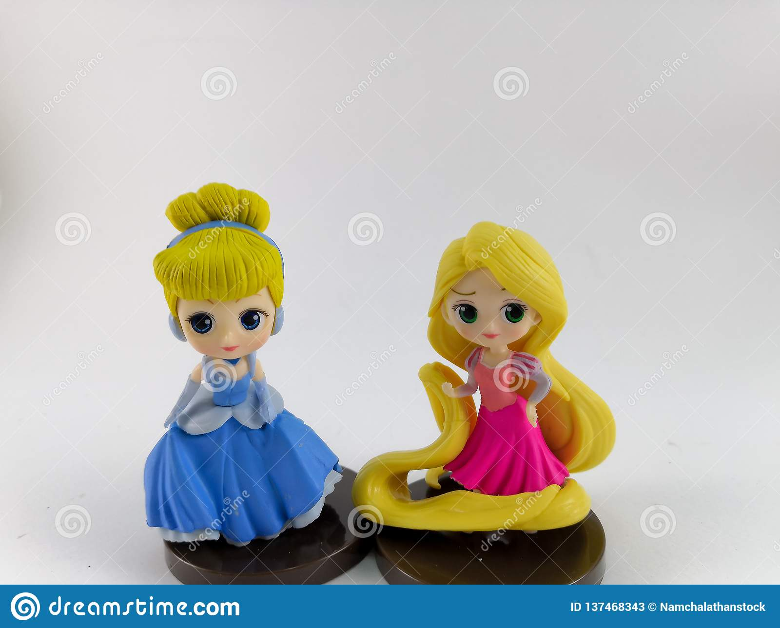 THAILAND, Jan 2018 :Princess team on white background disney toy collection in marketing campaign from Tesco Lotus Express