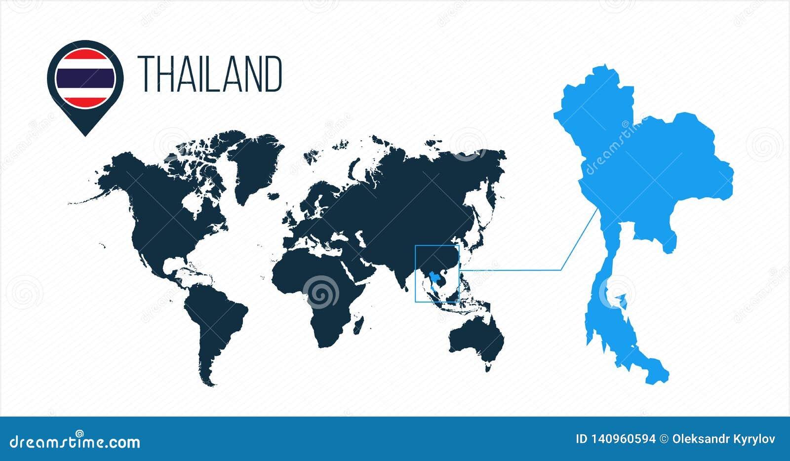 Thailand Karte.Thailand Karte Gelegen Auf Einer Weltkarte Mit Flagge Und
