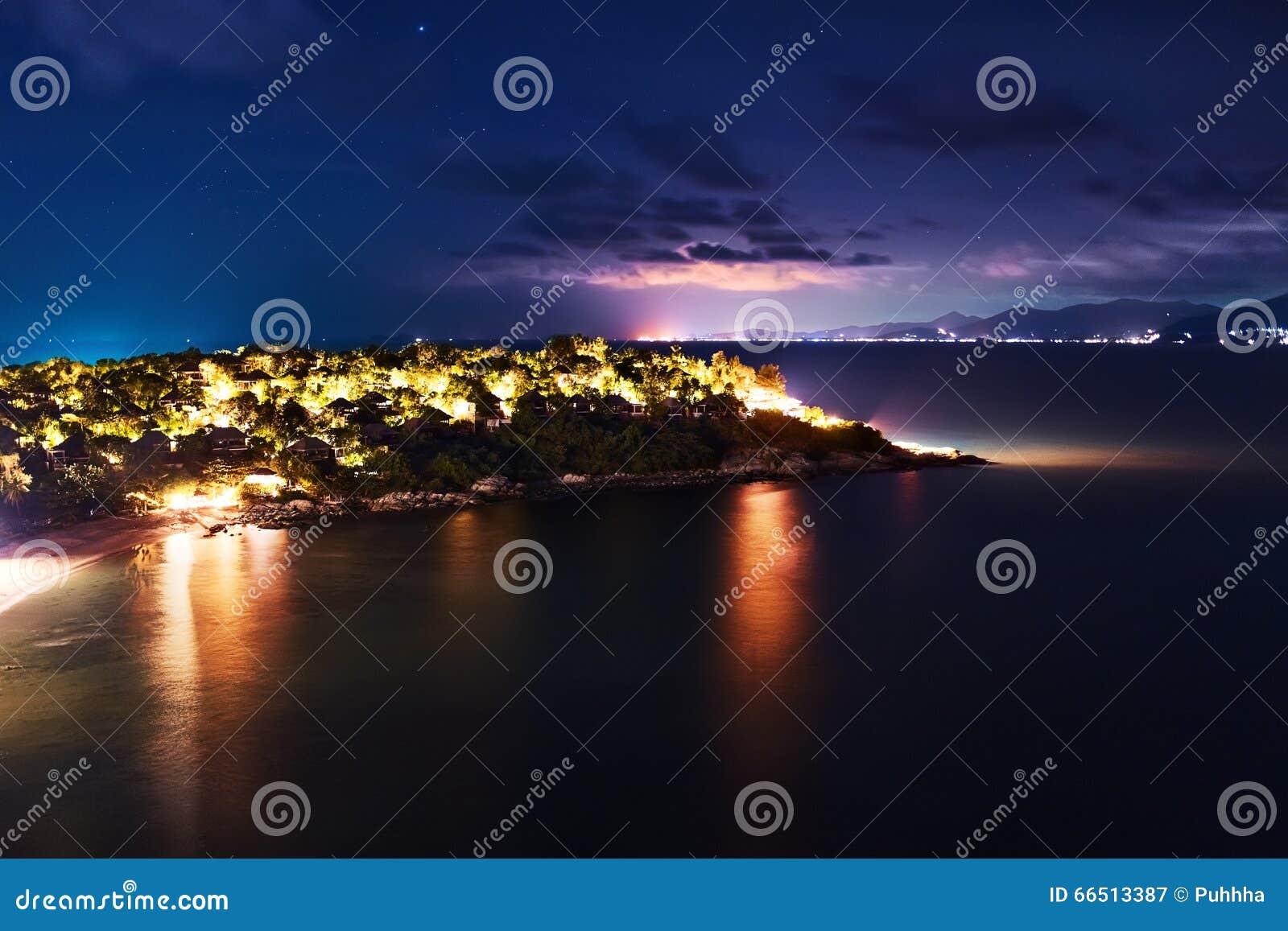 thailand landscape island at night beach lights nightlife ni