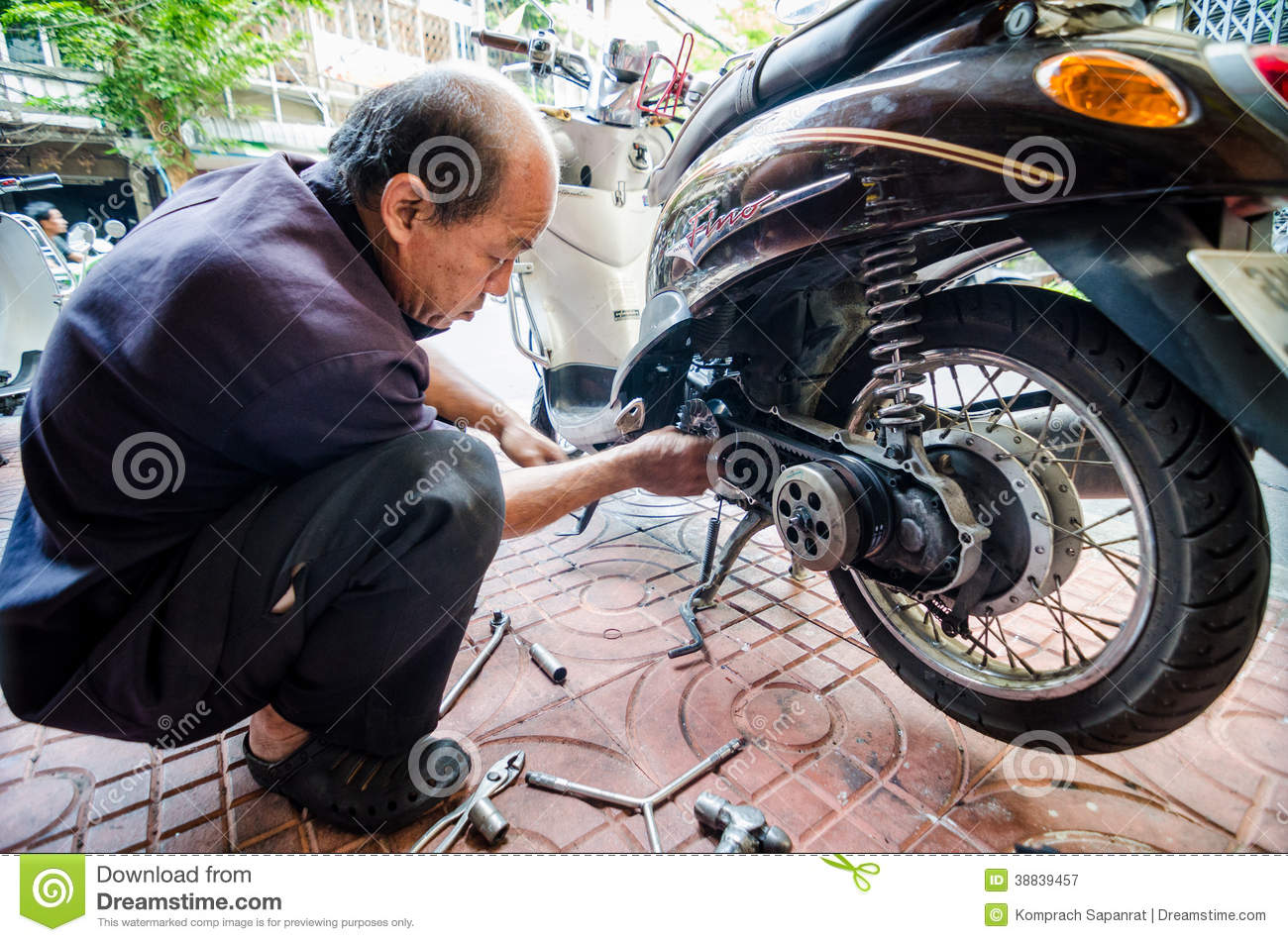thailand man mechanic motorcycle editorial photo