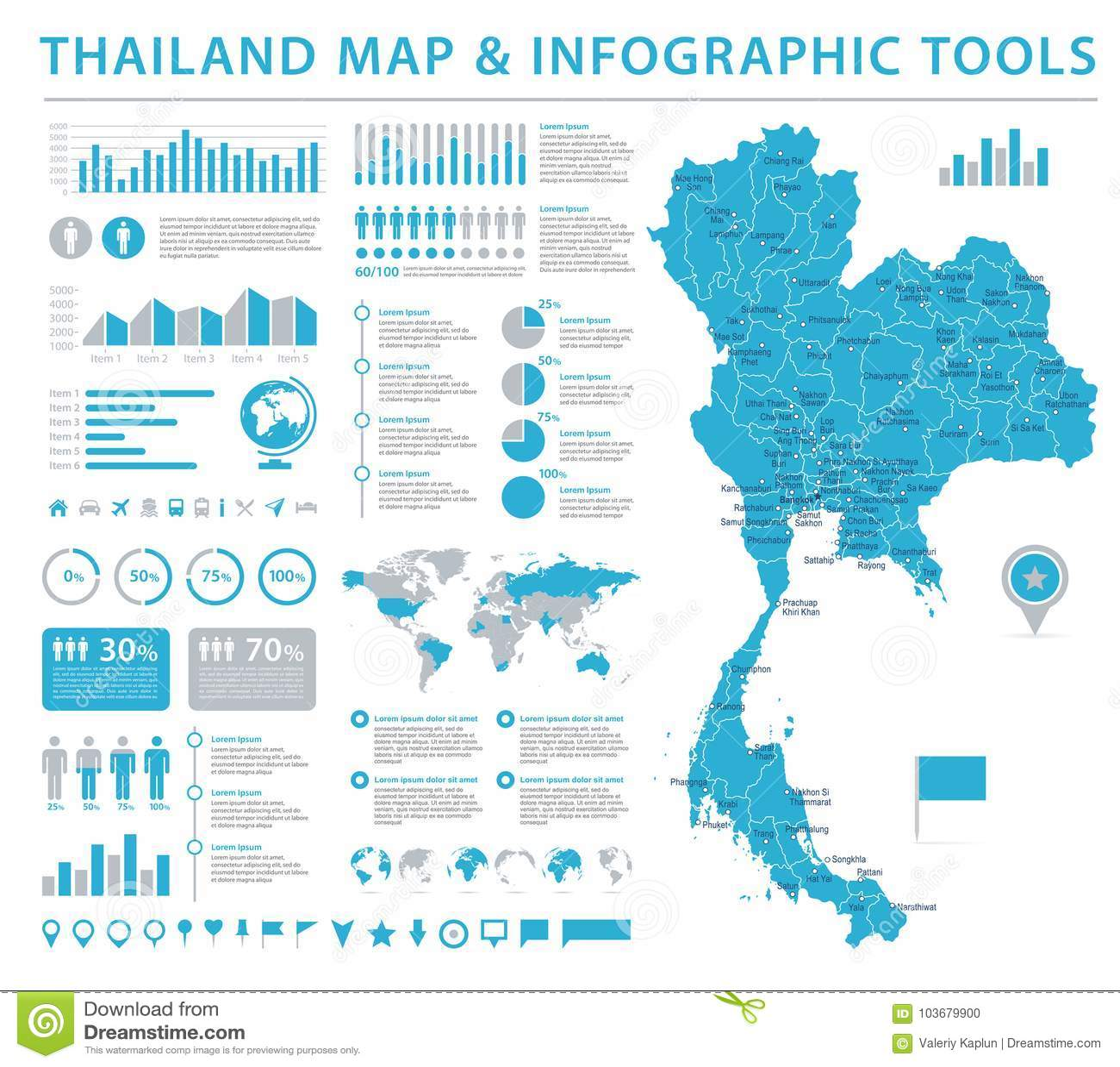 Thailand Map - Info Graphic Vector Illustration Stock Illustration ...