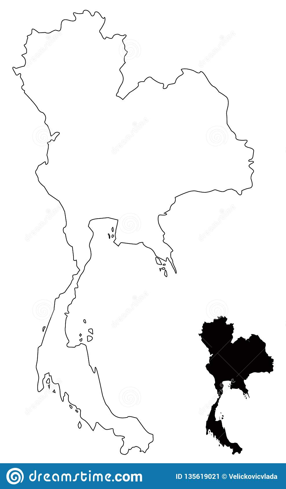 Thailand Map - Kingdom Of Thailand Or Siam Stock Vector