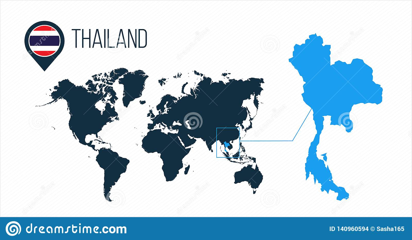 Thailand Map Located On A World Map With Flag And Map Pointer Or Pin ...