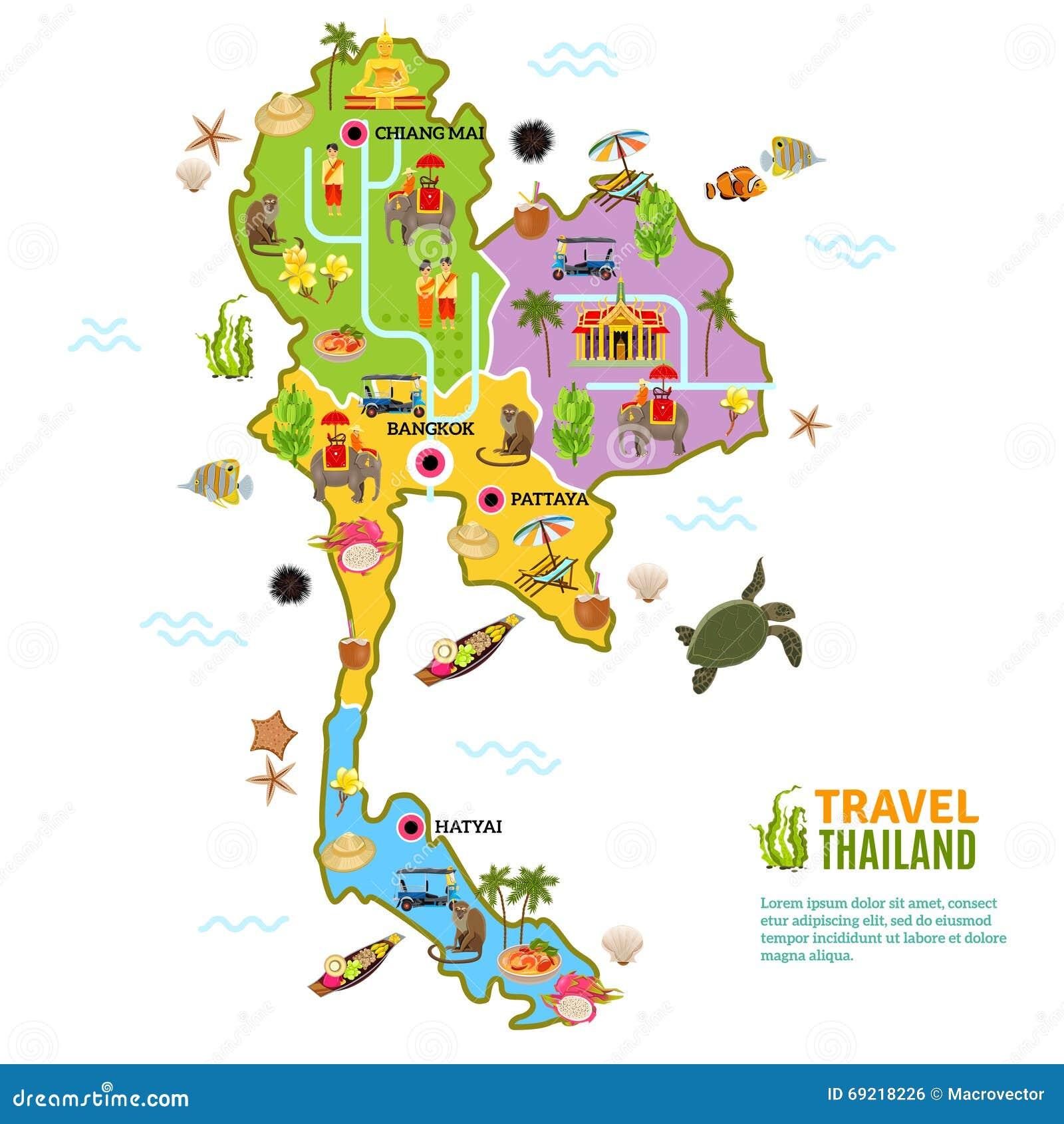 Thailand Map Poster Stock Illustration. Illustration Of