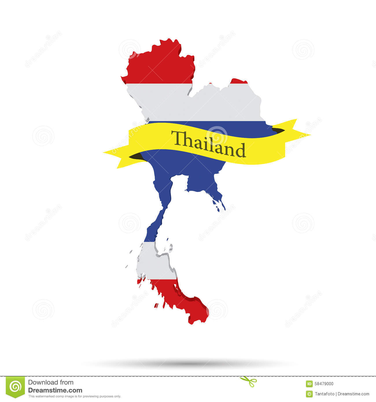 Thailand map and ribbon on white background