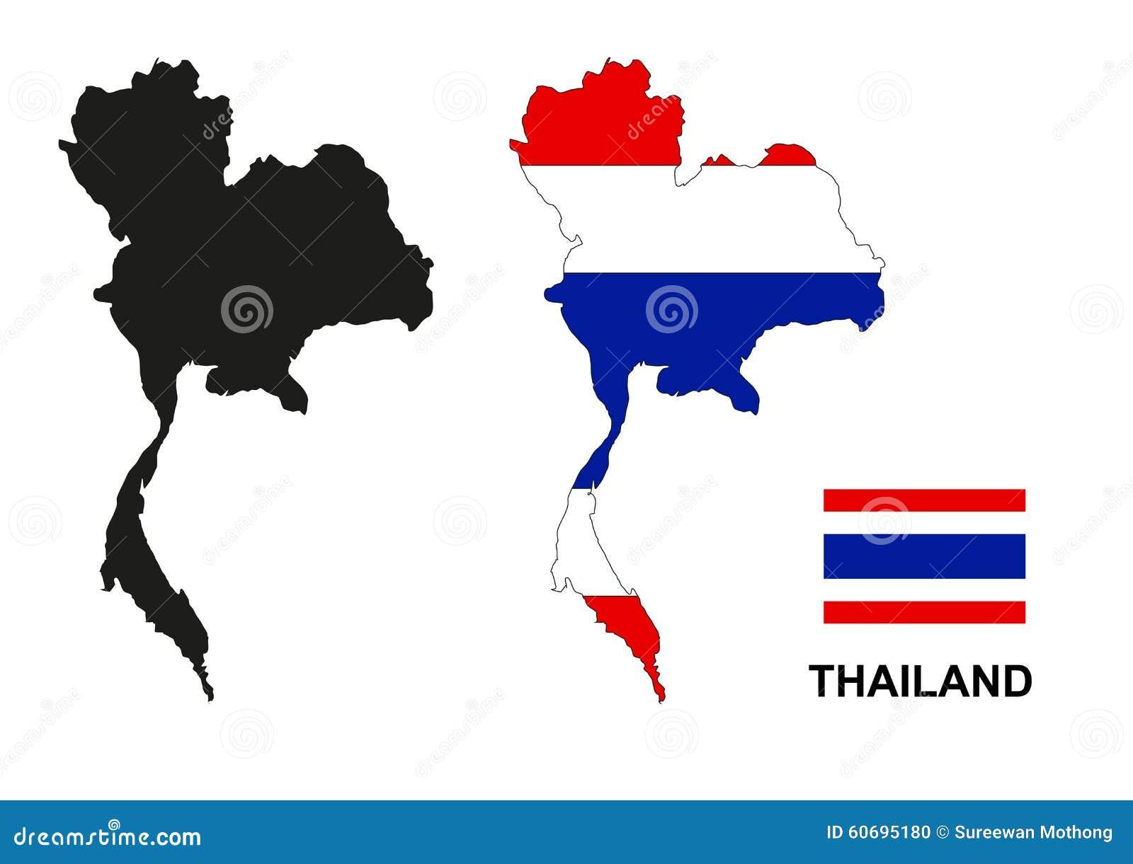Thailand Map Vector, Thailand Flag Vector, Isolated Thailand ...