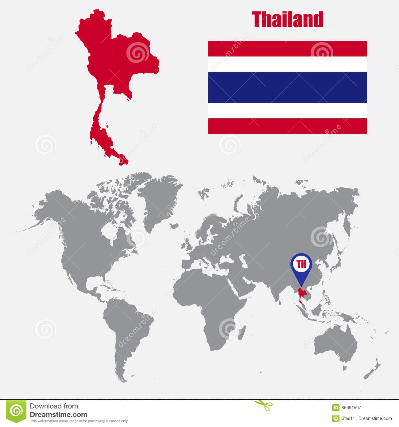 Thailand Map On A World Map With Flag And Map Pointer. Vector ...