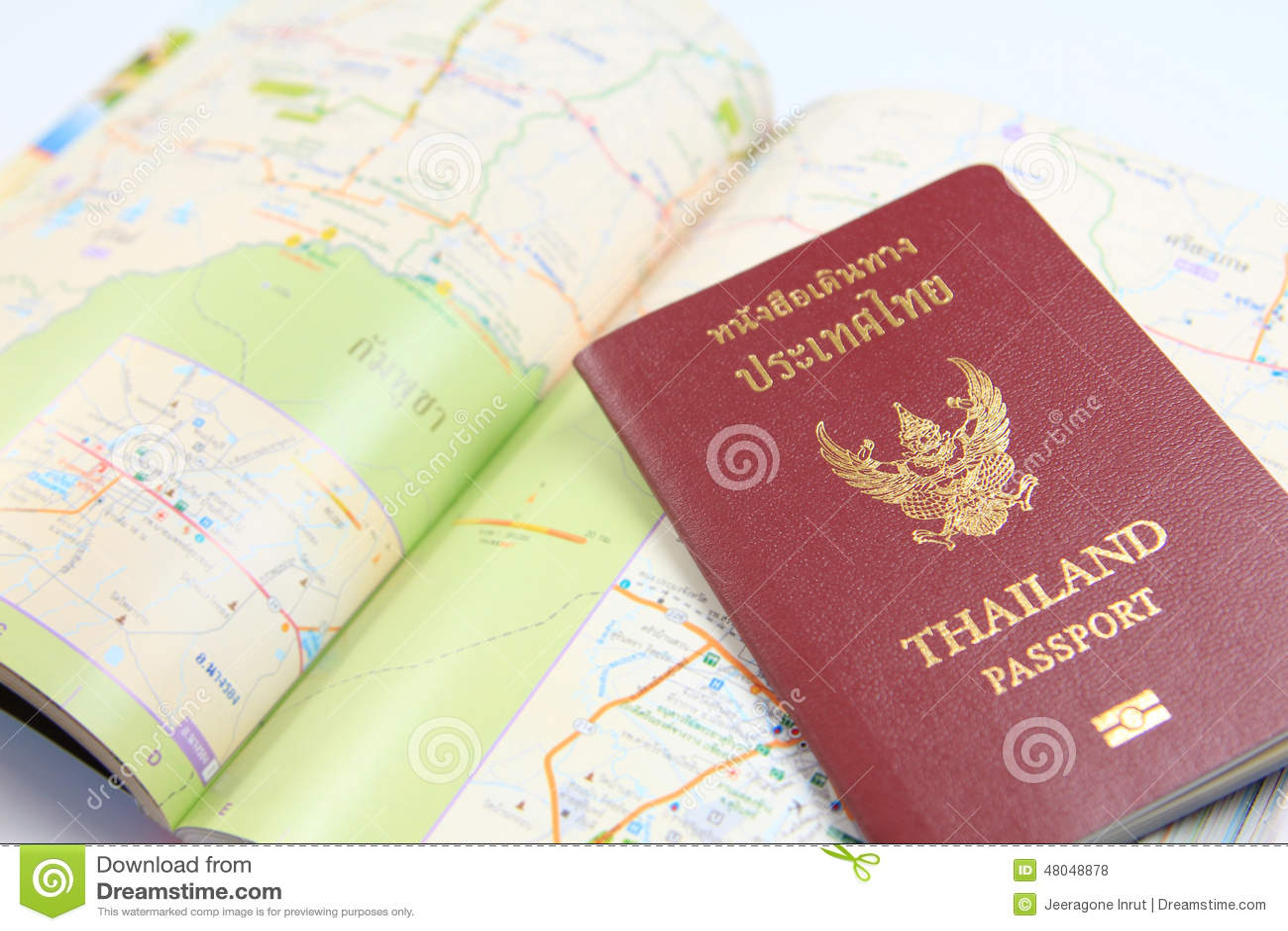 Thailand passport with map