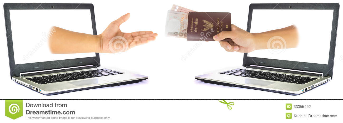 Thailand passport and money from laptop