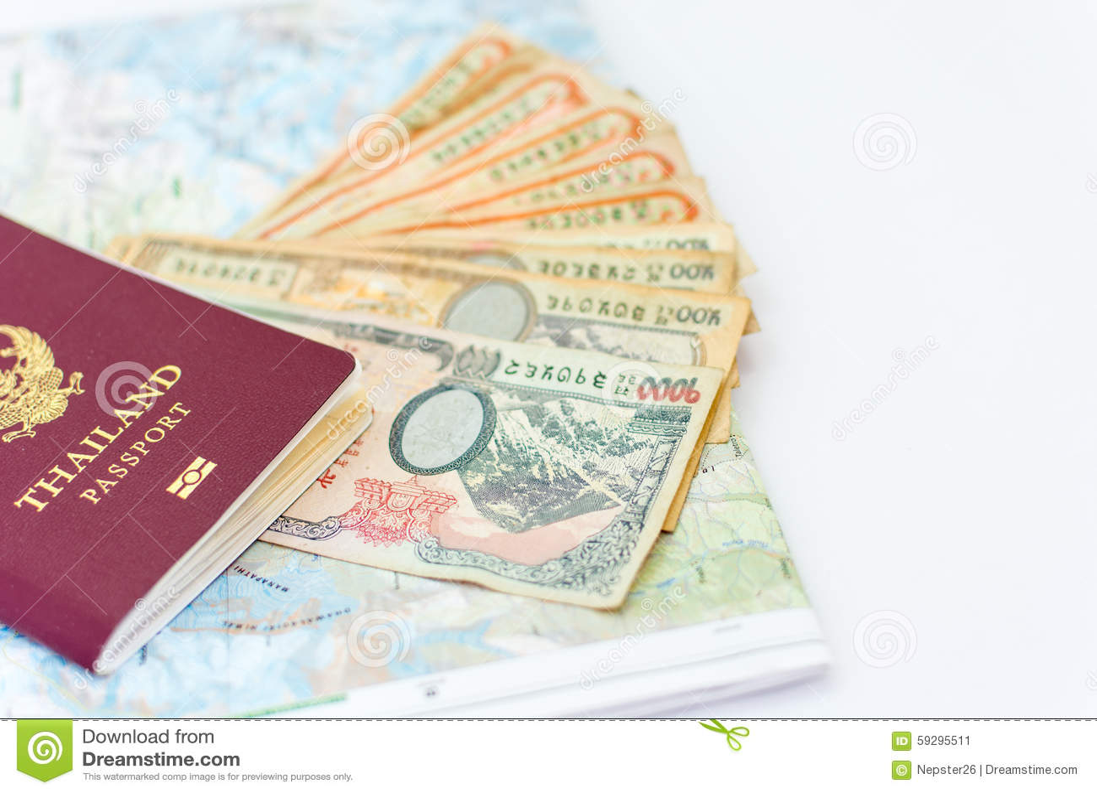 Thailand passport for tourism with Annapurna Region Nepal map a