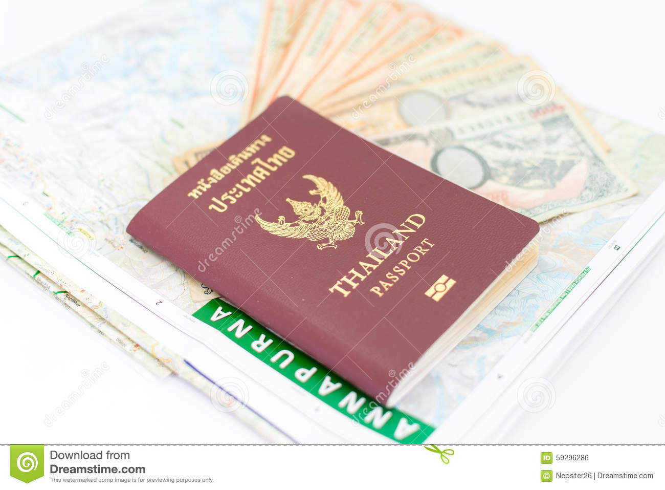 Thailand passport for tourism with Annapurna Region Nepal map and Nepali notes