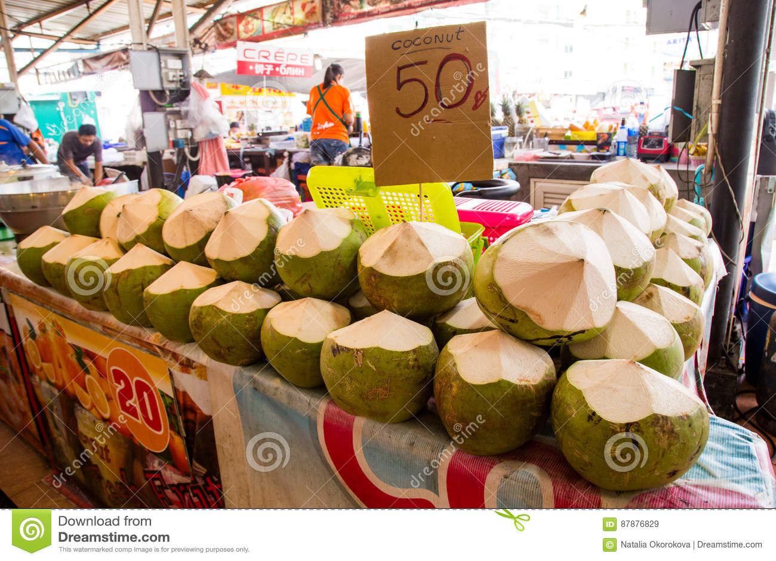 Thailand, Phuket - 19. Februar 2017: Frische Kokosnüsse Im Markt ...