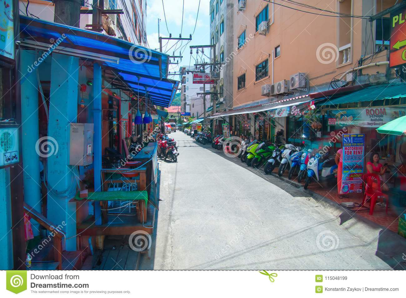 thailand, phuket, march 23, 2018-street in phuket with shops on the