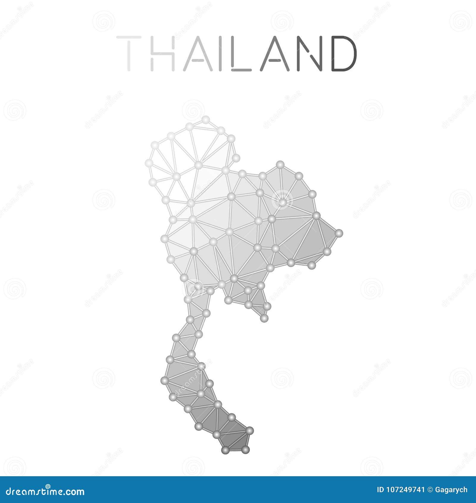 Thailand Polygonal Vector Map. Stock Vector - Illustration of ...
