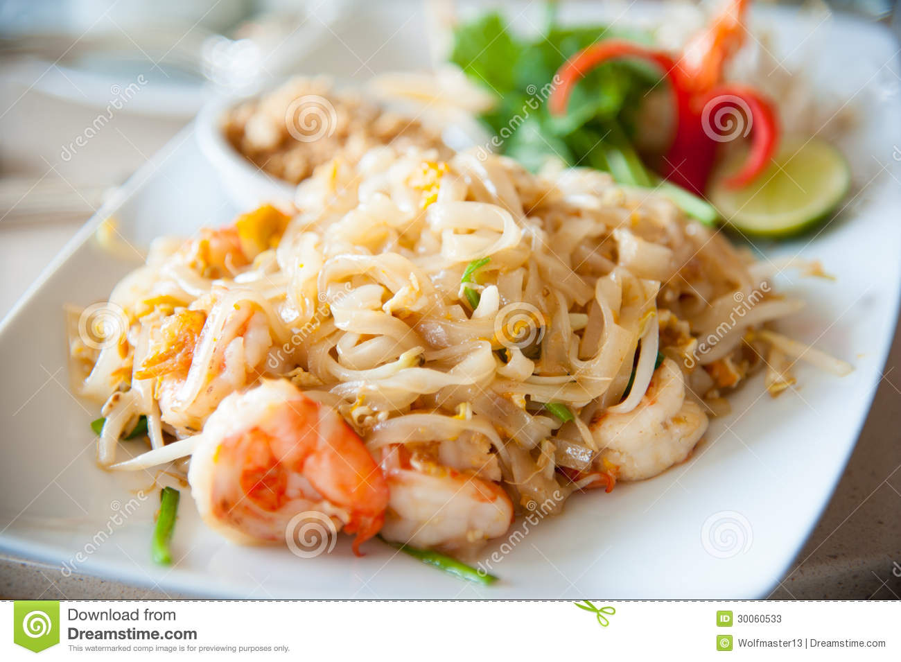 Stir-fried Rice Noodles With Egg, Vegetable And Shrimp (Pad Thai ...