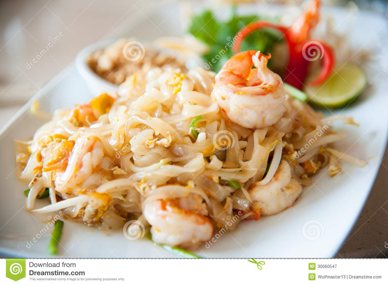 ... , stir-fried rice noodles with egg, vegetable and shrimp (Pad Thai