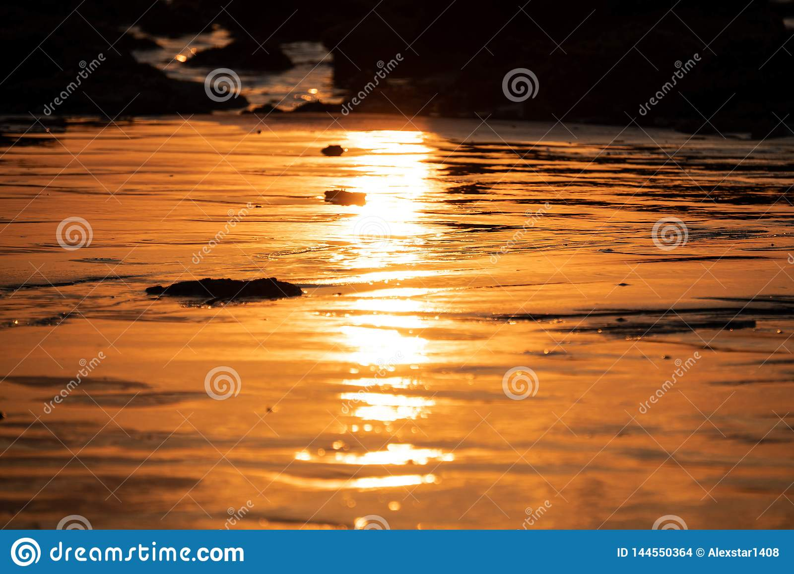 Thailand Sunset reflection on the beach