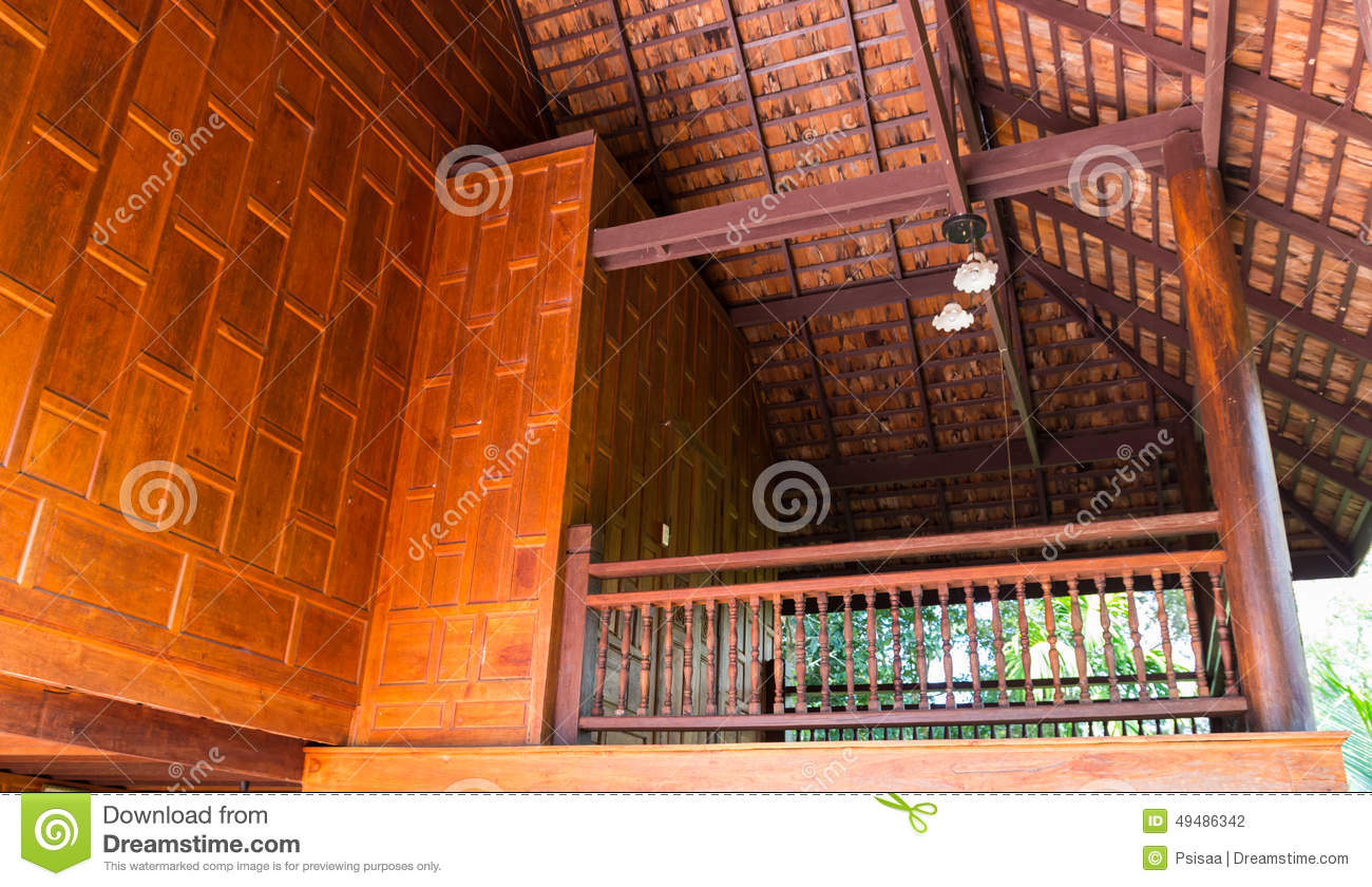 Thailand Traditional Old Wooden Balcony Stock Photo
