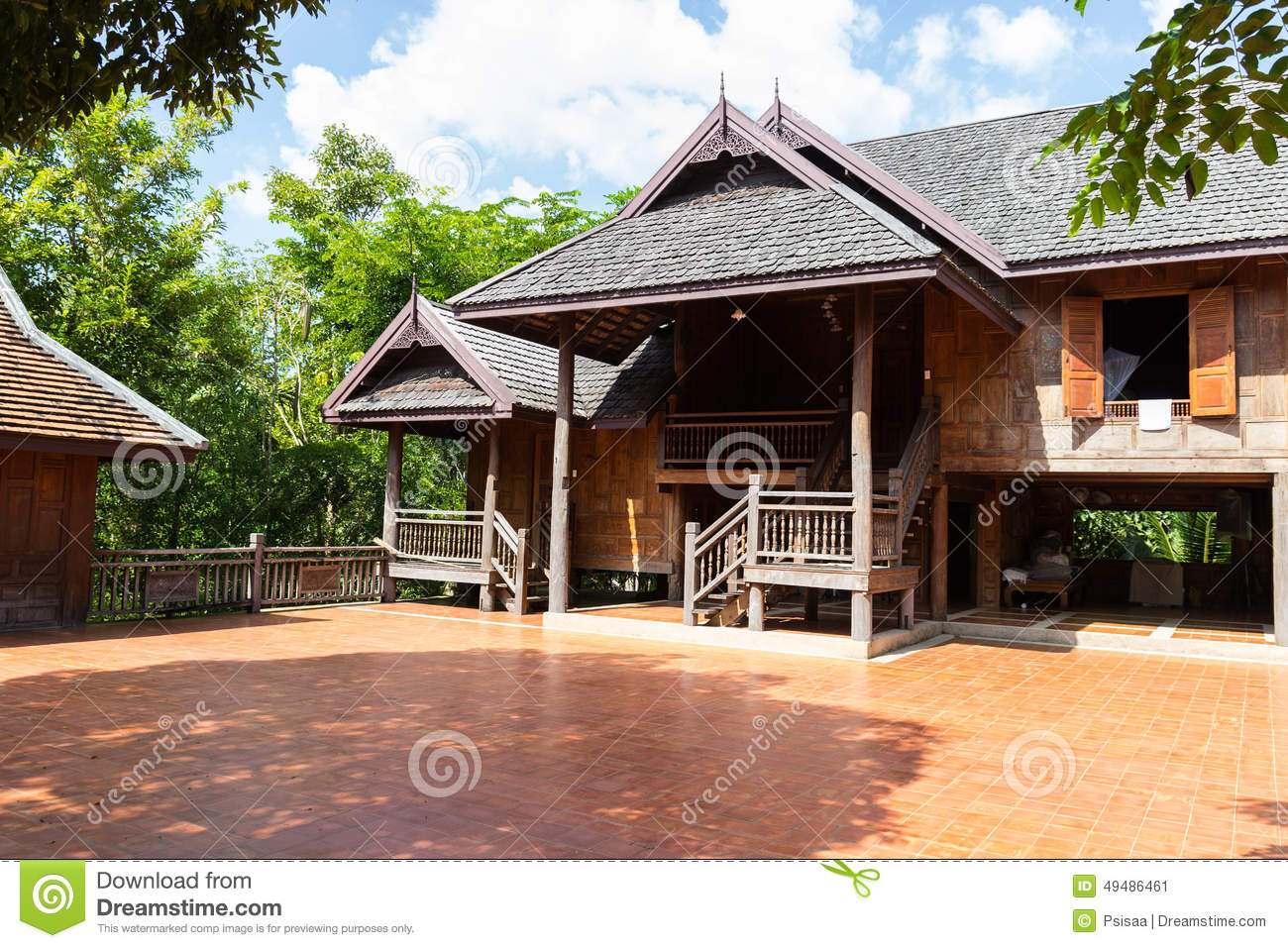 Thailand traditional old wooden house stock photo image for Thai classic house 2