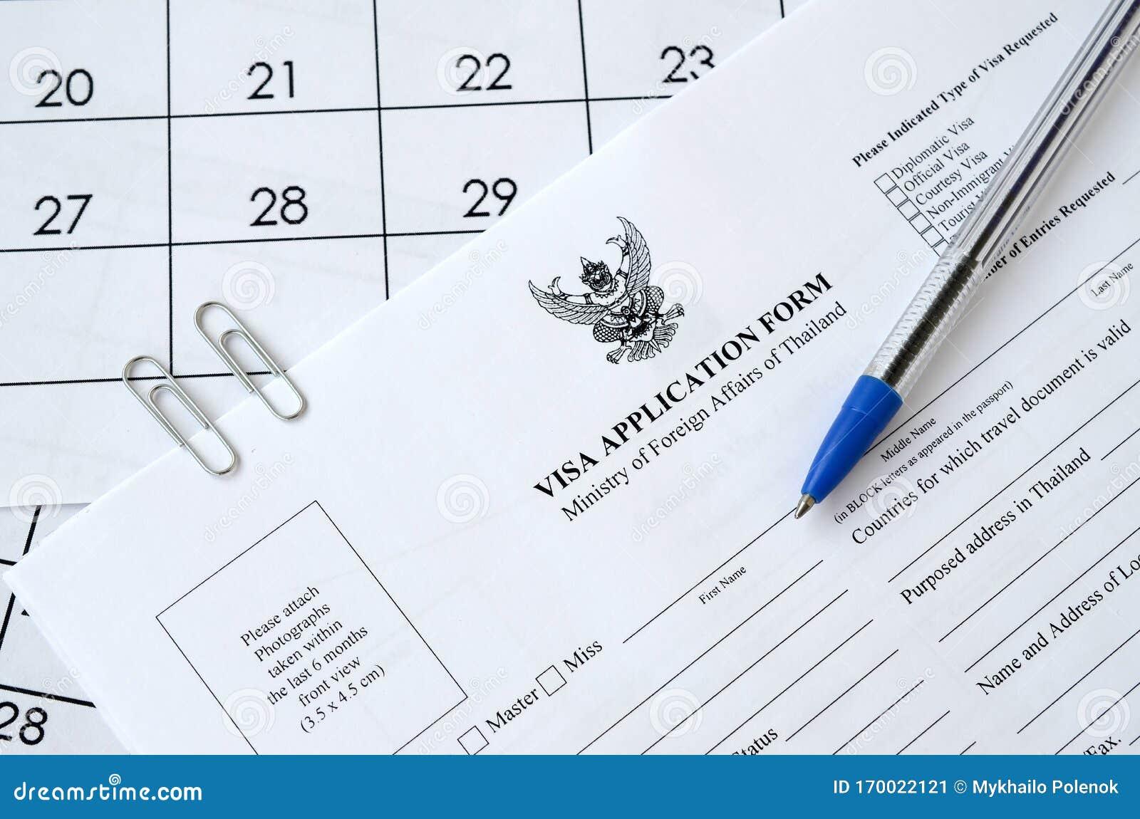 Thailand Visa Application Form And Blue Pen On Paper Calendar Page Editorial Photo Image Of Emigration Form 170022121