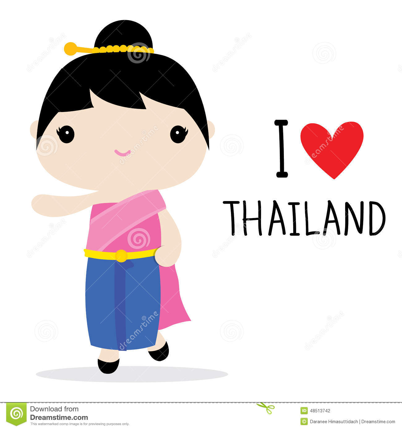 Child In French Thailand Women National Dress Cartoon Vector Stock Vector