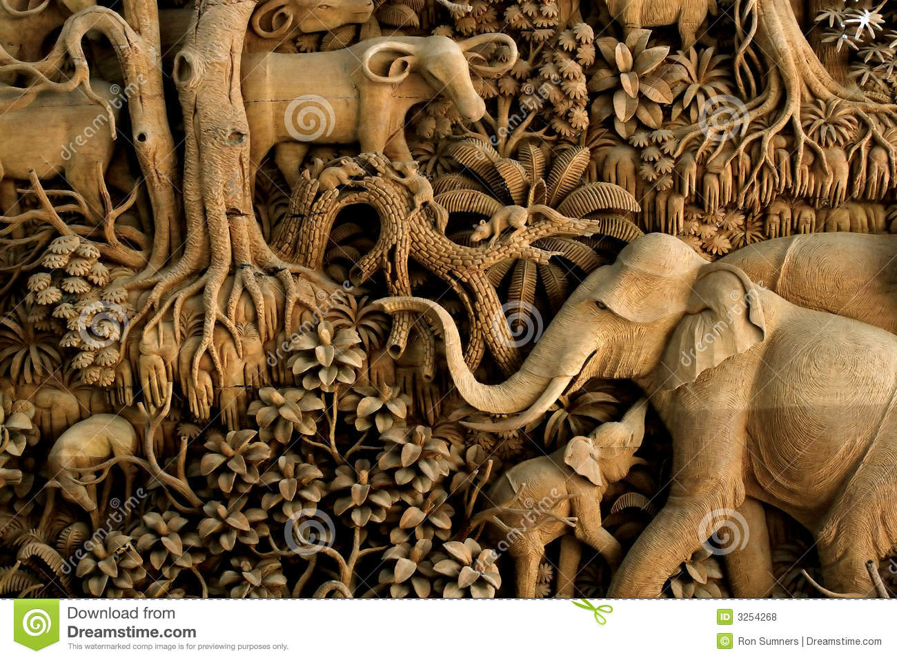 Thailand Wood Carving Stock Photo Image Of Mammal