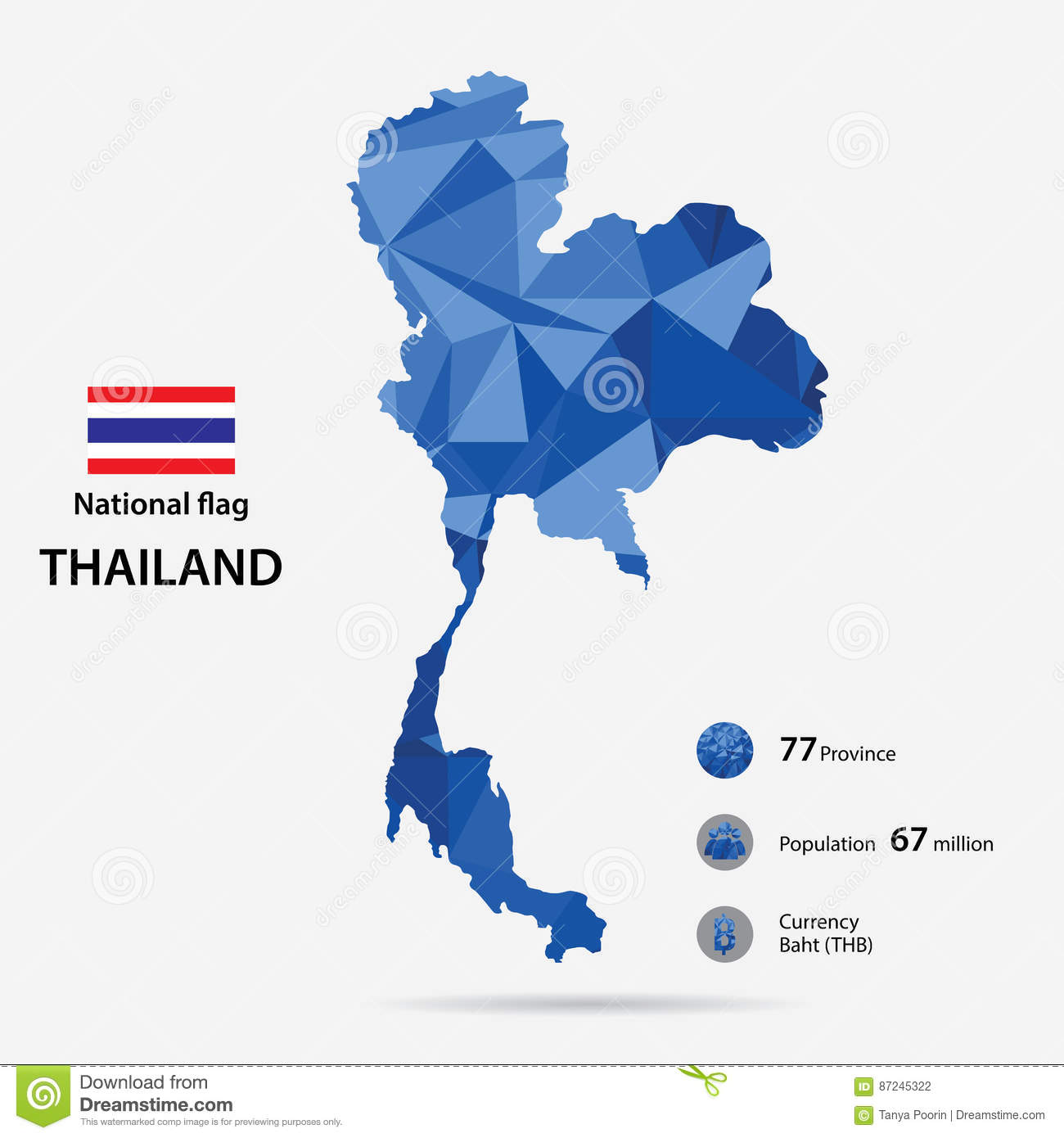 Thailand On The World Map With A Blue Abstract Pattern On Grey ...