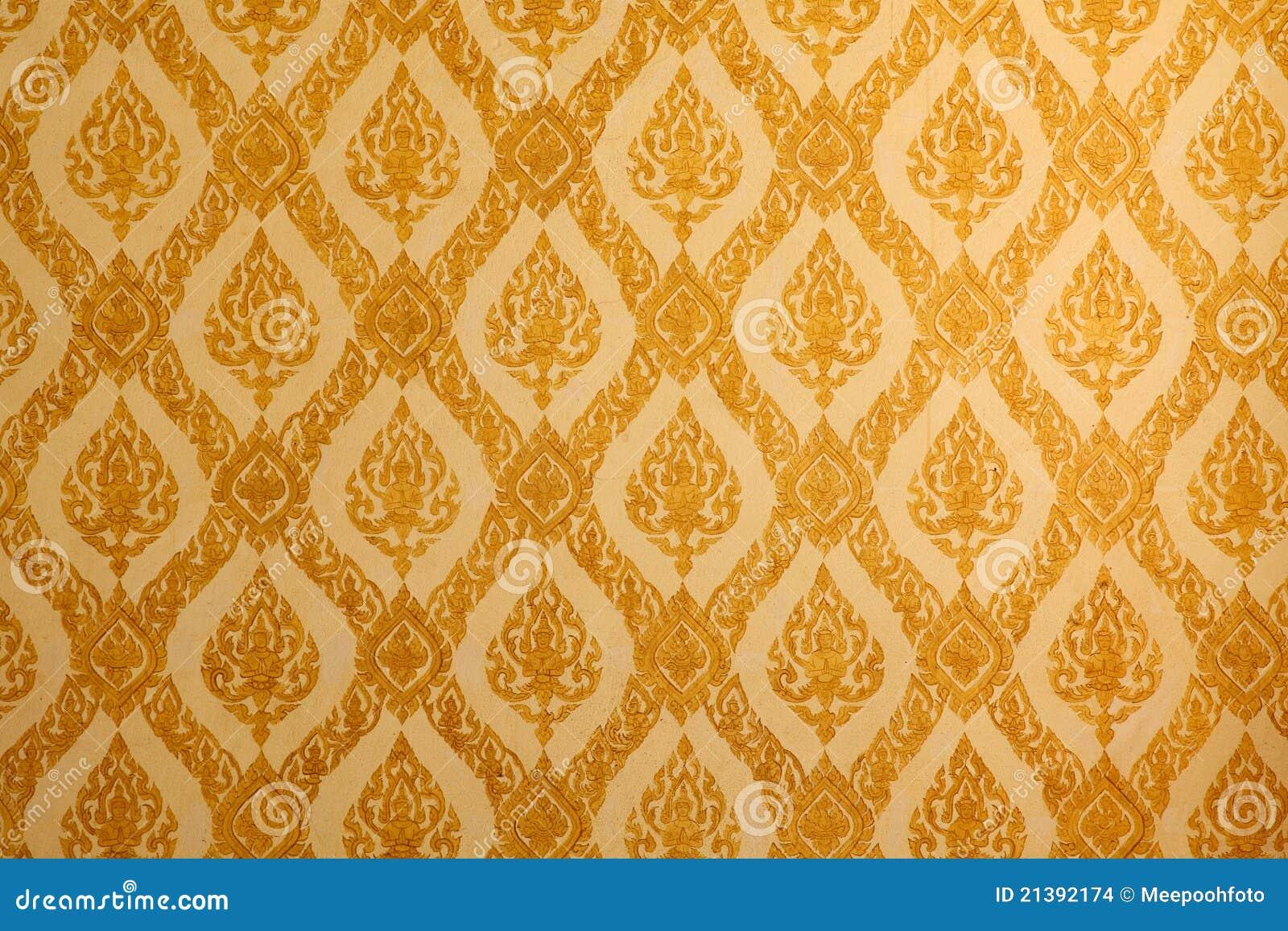 Thais traditioneel klassiek patroon op tempelmuur stock foto