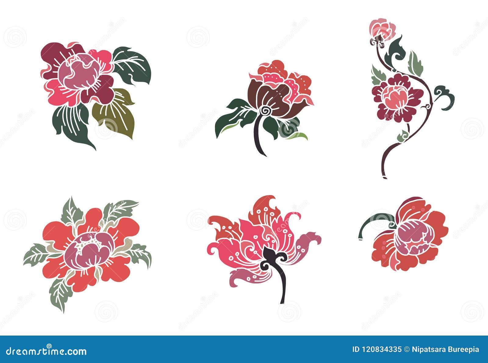 Thaise bloemvector Overzicht en kleurende van de de kunsthibiscus van de boek mooie Lijn mutabilibloem