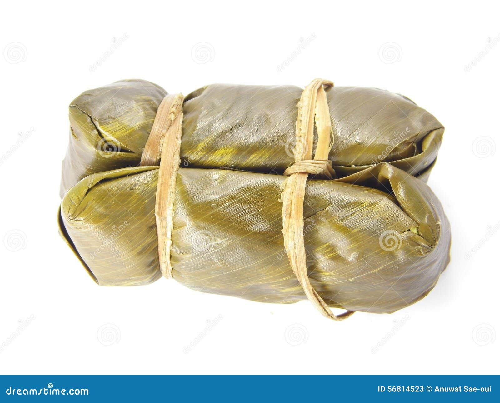 Thaise Kleverige die Rijst in Banaanblad wordt verpakt, Thais lokaal dessert