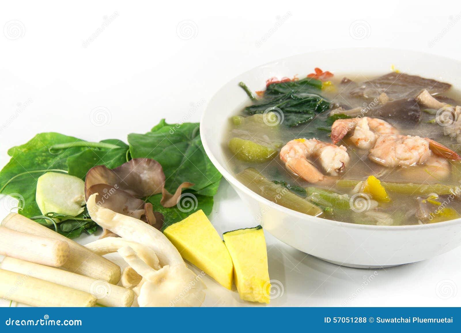 Thaise Kruidige Gemengde Groentesoep met garnalen,