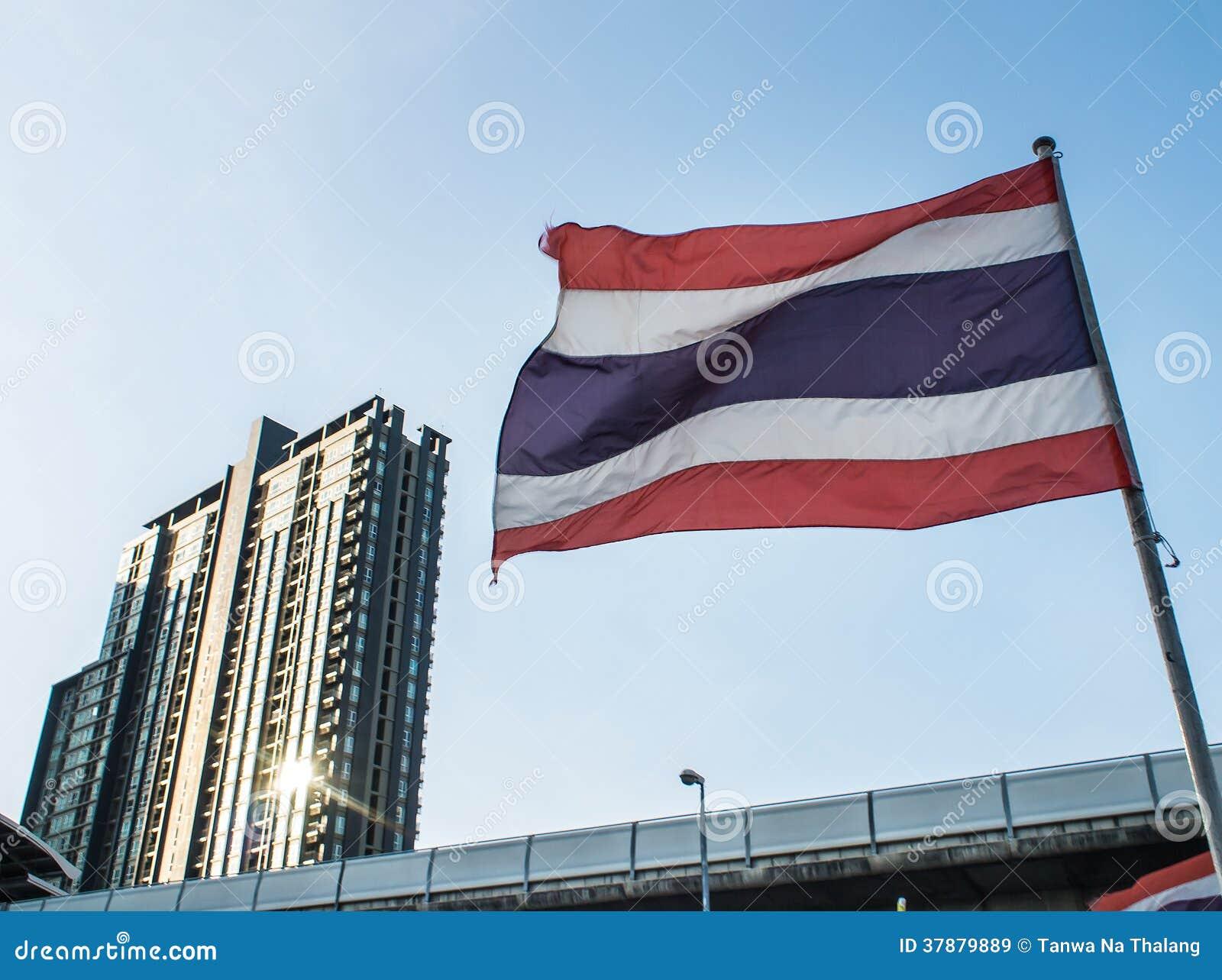 Thaise nationale vlag in schemering